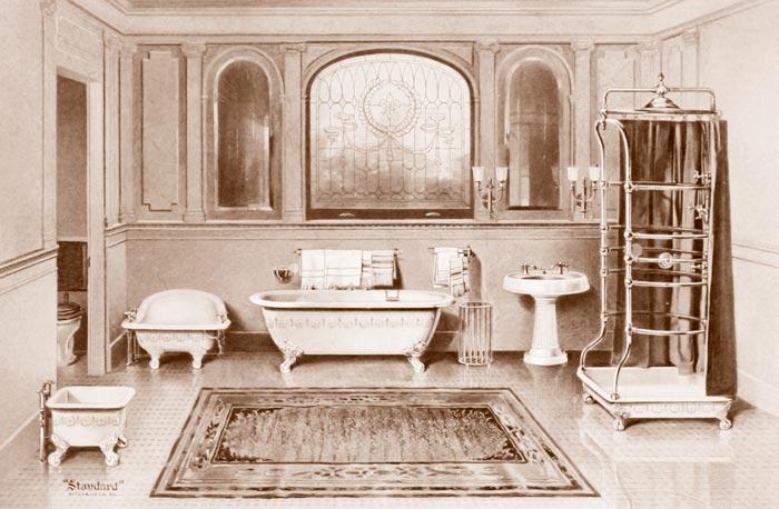 Слева направо: ванна для ног, сидячая ванна, ванна, вкоторую можно погрузиться полностью, раковина, душ (или душ соспринцовкой)