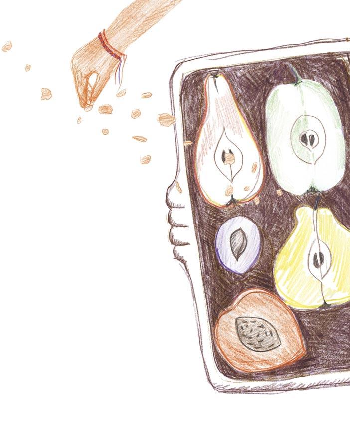 Запеченные фрукты спосыпкой крамбл, рецепт
