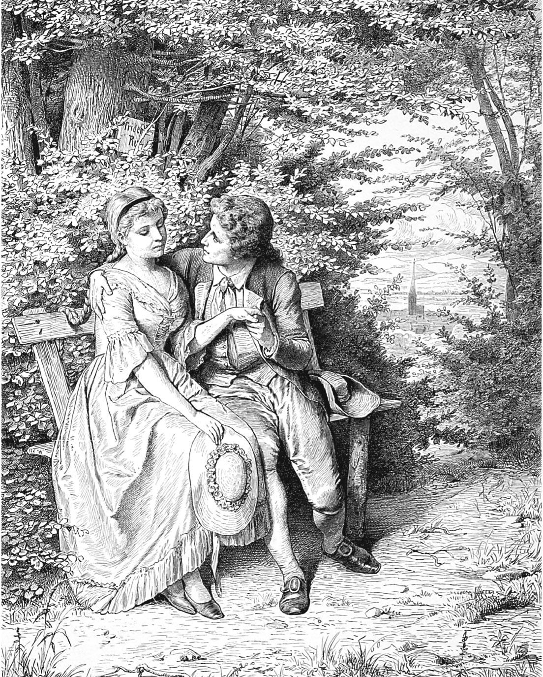 Рисунок эпохи романтизма, изображающий юных влюбленных