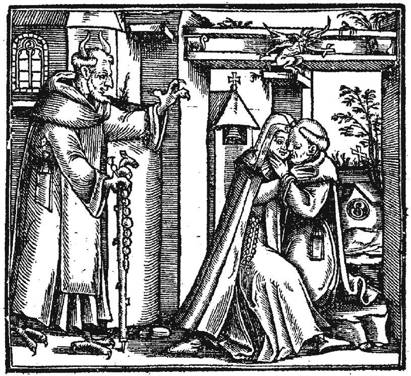 Рисунок времен Ренессанса изображает дьявола, искушающего монаха плотскими удовольствиями