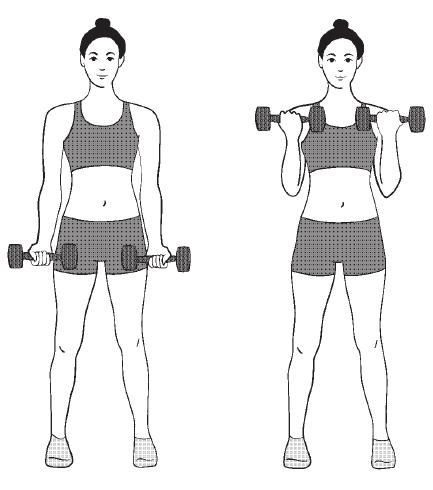 упражнение для рук с гантелями
