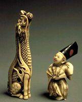 Нэцке - традиционная японская мелкая пластика ('Дракон' и 'Актер')
