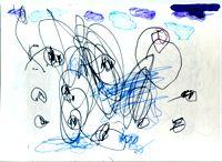 Доизобразительная стадия, четвертая ступень — интерпретация: ''Самолеты летают,  стреляют  друг в друга'', 3 года. Взрослый вмешивается, обозначив линию неба и показывая, как правильно рисовать самолет