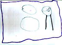 Изобразительная стадия, первая ступень — ребенок больше не хочет, чтобы взрослый вторгался в пространство его рисунка, он обозначает границы и приступает к собственно изобразительной деятельности. 'Головоног', 3 года 5 мес.