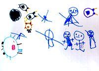 Ребенок пытается нарисовать прыгающего человечка, у него не получается, он зачеркивает, в конце концов, ему это удается: человечек, обозначенный крестиком, 4 года.